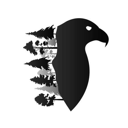 silhouette of an eagle with trees growing on it on a white background
