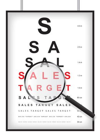 eyesight: Concept to identify your sales target in eyesight test with magnifying glass