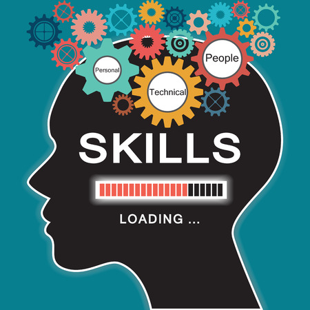 Loading skills concept with human head and gear Stock Illustratie