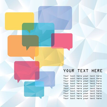 variety: A variety of colourful speech bubbles with low poly design background