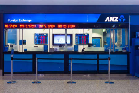 one level: Melbourne Australia  May 8 2015: ANZs exchange outlet located in International Arrivals level at Melbourne Airport Melbourne Australia. ANZ bank is one of the four largest banks in Australia. Editorial