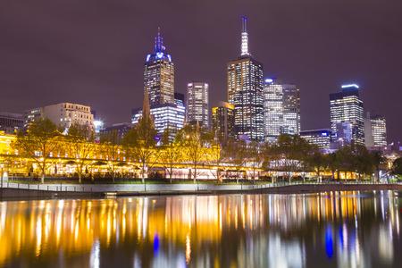 illuminated: Melbourne cityscape at night with illuminated buildings