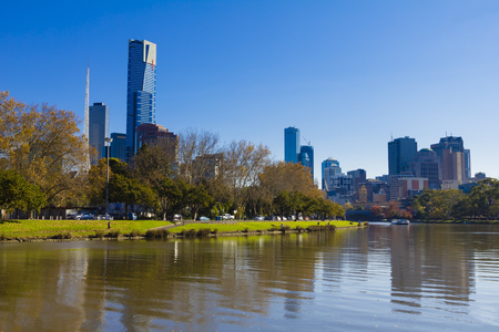 southbank: Melbourne Australia  May 18 2015: View of the Yarra River and the Southbank of downtown Melbourne Australia in the daytime.