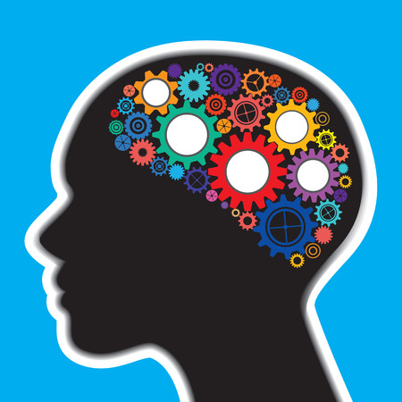 Colourful gears in human brain and head to illustrate the concept of thinking