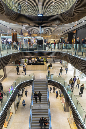 flagship: Melbourne, Australia - August 1, 2015: People shopping in Emporium Melbourne, a premier shopping centre with flagship stores over seven levels in the heart of Melbournes CBD.