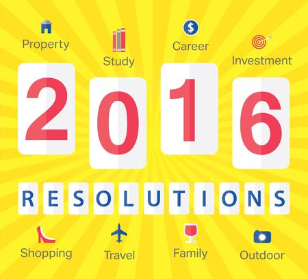 resolutions: Stylish design for 2016 New Years resolutions with icons in flat design