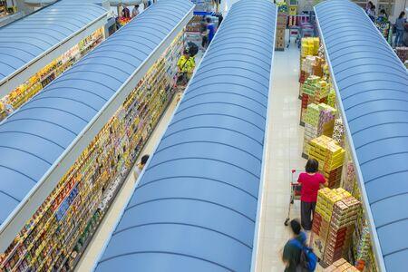 topdown: Hong Kong, China - June 17, 2015: Top-down view of an interior of a supermarket with customers in Hong Kong. Editorial