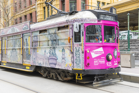 electric tram: Melbourne, Australia - August 29, 2015: View of a tram with artwork created by an Australian artist under Melbourne Art Trams project in Melbourne. Editorial