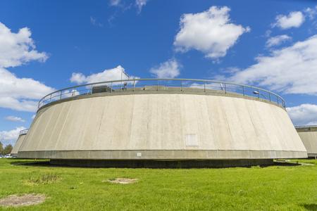 sedimentation: Sedimentation tank in a sewage treatment plant during daytime