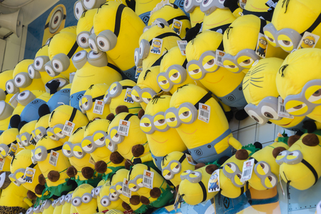 plush toys: Melbourne, Australia - September 25, 2015: Close-up of Minions soft plush toys in the 2015 Royal Melbourne Show.