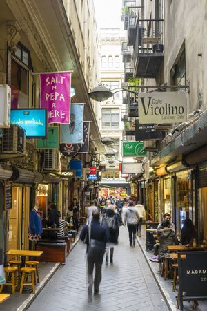 city centre: Melbourne, Australia - September 9, 2015: Cafes, bars, shops and people in Centre Place in Melbourne. Centre Place is one of the famous city laneways in Melbourne. Editorial