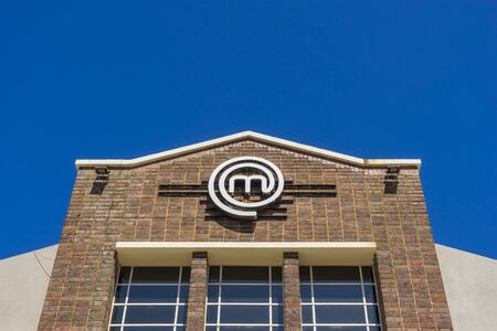 game show: Melbourne, Australia - September 25, 2015: Close-up of MasterChef kitchen building in Melbourne during daytime. MasterChef is a competitive cooking game show in Australia.