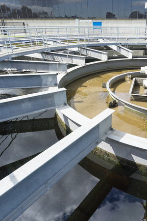 sewage treatment plant: Close-up of sedimentation tank in a sewage treatment plant during daytime