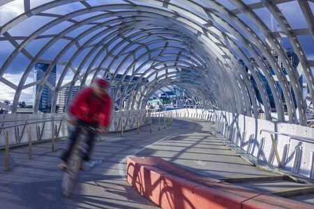 webb: Melbourne, Australia - July 22, 2015: View of man cycling along the Webb bridge in Melbourne. Webb Bridge is a winning design for pedestrian and cycle bridge in Melbourne, Australia. Editoriali
