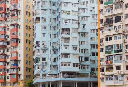 cramped: Colourful, tiny city apartments in Hong Kong during daytime