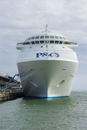 ship bow: Melbourne, Australia - November 3, 2015: View of the bow of  the P&O Pacific Jewel cruise ship berthing at the pier in Port Melbourne. The ship can carry around 1,900 passengers.