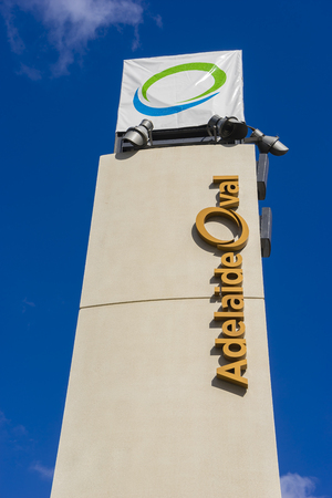 venue: Adelaide, Australia - November 27, 2015: Close-up of Adelaide Oval sign outside the stadium, a venue mainly for cricket and football matches, in Adelaide during daytime. Editorial
