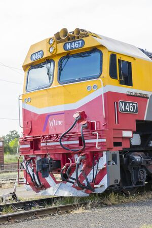 regional: Melbourne, Australia - October 17, 2015: Close-up of regional train, VLine, Australias largest regional public transport operator, in railway station in Melbourne during daytime. Editorial