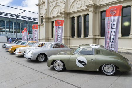 Melbourne, Australia - October 23, 2015: View of row of classic, luxurious vintage cars on display in the Classic Motor Show in Royal Exhibition Building in Melbourne.