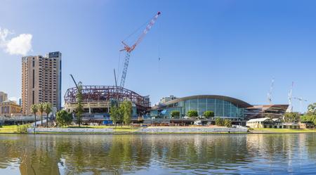 Adelaide, Australia - November 27, 2015: Development projects including the expansion of the convention centre, undergoing in the Riverbank Precinct of Adelaide in South Australia during daytime.