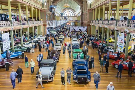 Melbourne, Australia - October 23, 2015: People attending the Classic Motor Show in Royal Exhibition Building in Melbourne. More than 500 historic, vintage cars and motorcycles are on display. Editorial