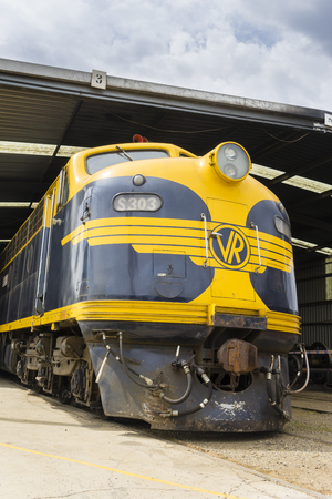 Melbourne, Australia - October 17, 2015: Close-up of heritage, diesel locomotive, S303 in the railway museum in Melbourne. The train was built in 1957.