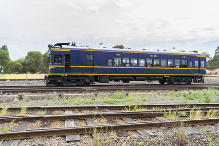 Melbourne, Australia - October 17, 2015: Diesel locomotive 58 RM carrying passengers for a short trip in Melbourne. The train was built in 1930 and runs limited services. Editorial