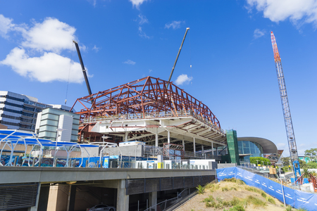 urban redevelopment: Adelaide, Australia - November 27, 2015: the expansion of the convention centre and construction work undertaking in Adelaide in South Australia during daytime. Editorial