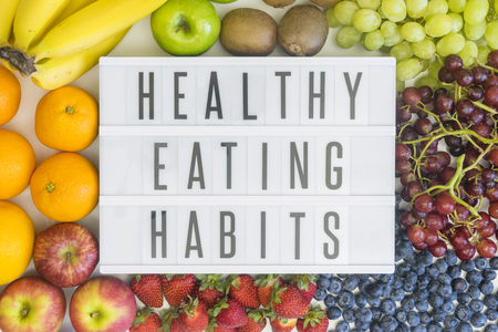 eating habits: Healthy eating habits with different types of fresh fruits