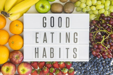 eating habits: Good eating habits with different types of fresh fruits
