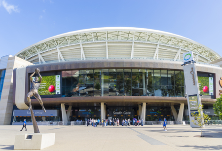 Adelaide, Australia - November 27, 2015: View of Adelaide Oval stadium, a venue mainly for cricket and football matches, and people in Adelaide during daytime. Stock Photo - 55991363