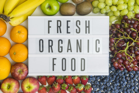 Fresh, organic food and different fresh fruits Stock Photo
