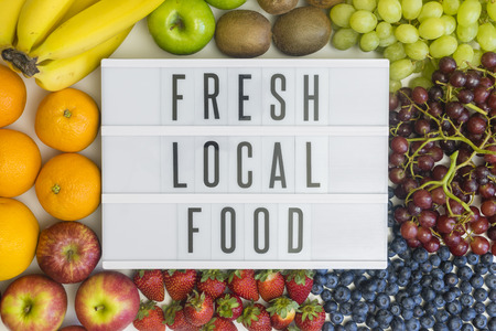Fresh, local food and different fresh fruits Stock Photo