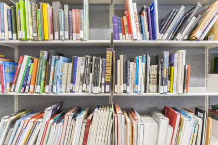 Melbourne, Australia - August 16, 2015: Books on the shelf in a university library in Melbourne, Australia. Editorial