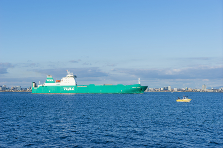 Melbourne, Australia - Septemeber 5, 2015: View of toll shipping vessel sailing in the sea in Melbourne. The ship operates roll on and roll off vessels between Tasmania and mainland Australia. Editorial