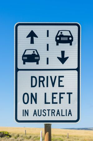 Australian road sign with arrows and drive on left message to remind tourists about road safety on Great Ocean Road, Victoria