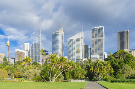 View of Royal Botanic Garden with cityscape of Sydney, Australia during daytime Stock Photo