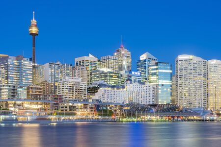 Sydney, Australia - June 22, 2016: View of Sydney cityscape and Darling Harbour, one of the largest dining, shopping and entertainment precincts, in Sydney at twilight.