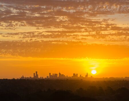 View of Melbourne cityscape at beautiful orange sunset Stock Photo - 62119667