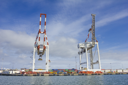 Melbourne, Australia - July 25, 2015: Large container cranes at Swanson Dock in the Port of Melbourne, Australia. Port of Melbourne handles more than one third of Australias container trade.