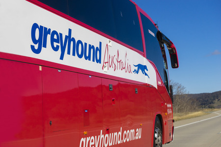 motorcoach: Canberra, Australia - June 28, 2016: Close-up of Greyhound Australia bus on the road. The company is the only national bus service and a leading coach company in Australia.