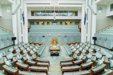 Canberra, Australia - 28 de junio 2016: Vista del interior de la cámara Cámara de Representantes de la Casa del Parlamento, donde las leyes federales son debatidos y votados por los miembros.