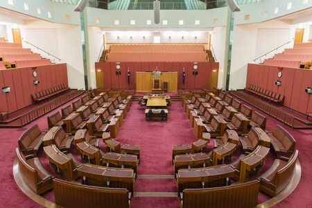 Canberra, Australia - June 28, 2016: View of inside of the Senate chamber of the Parliament House where federal laws are debated and voted by senators. Editorial
