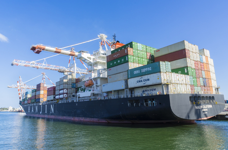Melbourne, Australia - July 31, 2016: Containers to be unloaded in a container ship berthed at Swanson Dock in the Port of Melbourne that handles more than one third of Australias container trade. Editorial