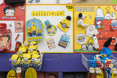 Melbourne, Australia - September 25, 2015: Close-up of Minions and Peanuts showbags in the Showbag Pavilion in the 2015 Royal Melbourne Show. Stock Photo - 61817459