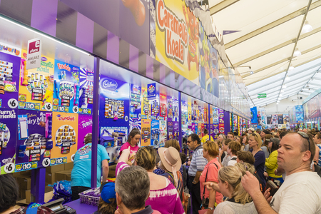 Melbourne, Australia - September 25, 2015: People queueing up to buy showbags in the Showbag Pavilion in the 2015 Royal Melbourne Show. Editorial