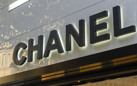 haute couture: Sydney, Australia - June 26, 2016: Close-up of Chanel store exterior during daytime. Chanel is a high fashion house specialising in haute couture, luxury goods and fashion accessories. Editorial