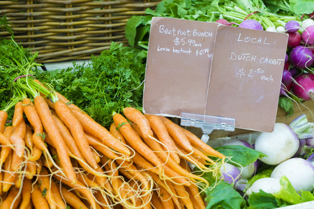 Close-up of fresh vegetables in local farmers market