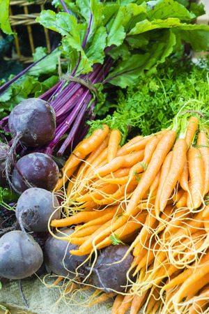 Fresh dutch carrots and beetroots in local farmers market Stock Photo