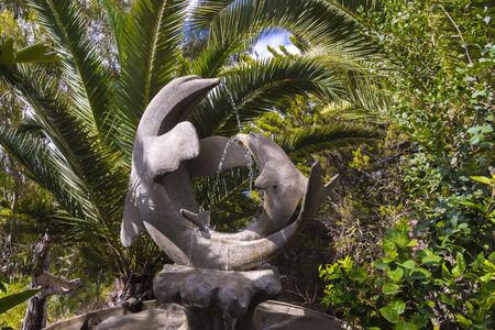 Fountain sculpture of dolphins in Spain Stock Photo